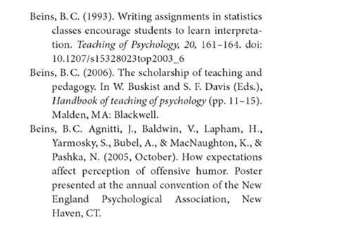 APA Citation Reference List
