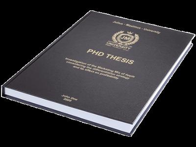 PHD Thesis printing binding leather binding black gold