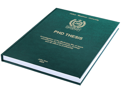 PHD Thesis printing binding leather binding green gold