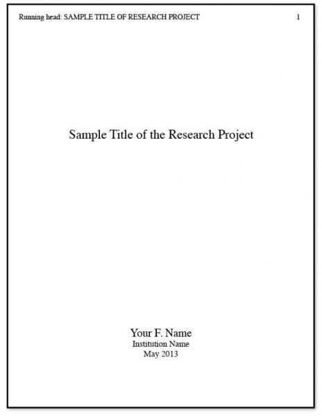 APA Cover Page Example