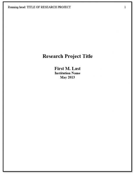 APA Title Page Example