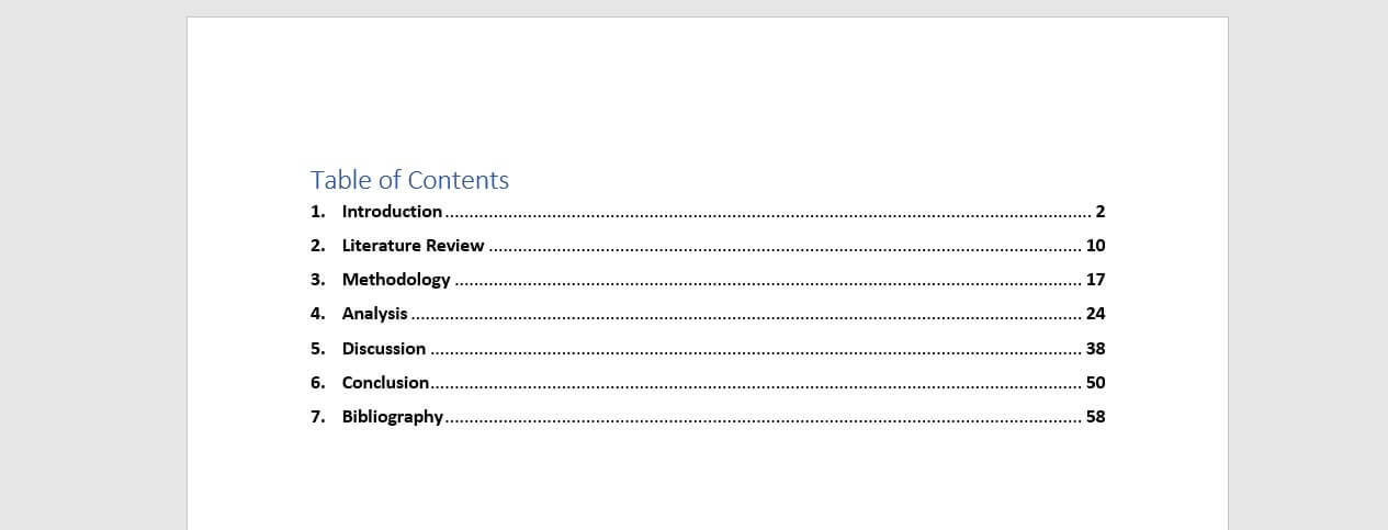 Table of Contents Example Bachelor Thesis