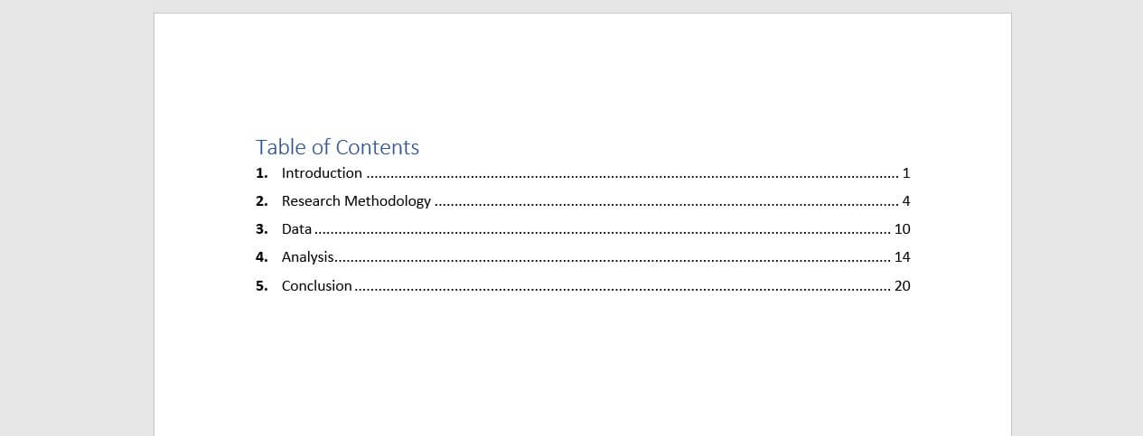 Table of Contents Example Single level