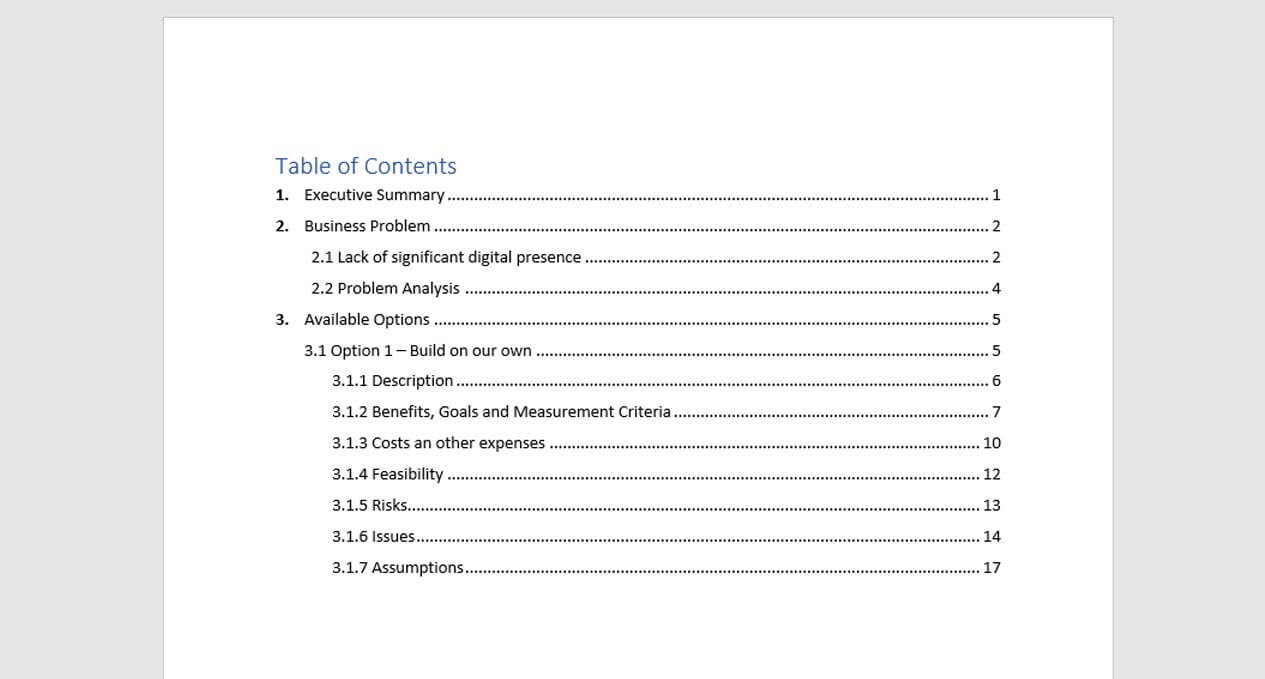 Table of Contents Example multi-level
