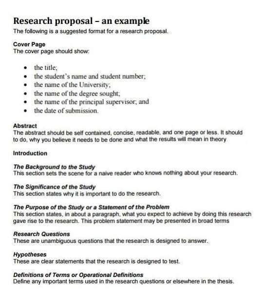 Research Proposal Sample Example