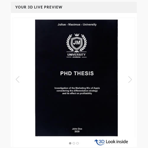 PhD binding softcover 3D-live-preview