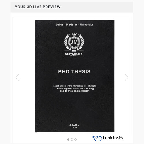 PhD binding standard leather book binding 3D-live-preview
