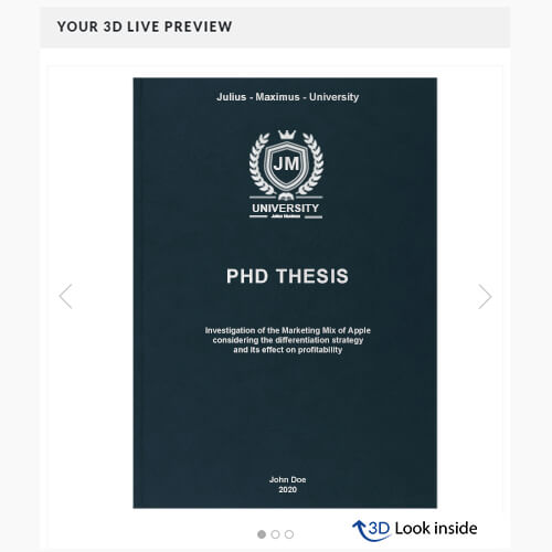 PhD binding premium leather book binding 3D-live-preview