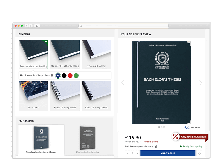 3D online print configurator for Manchester printing